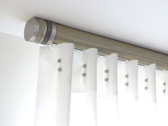 French Grey Flush Ceiling Fix Pole Modern Curtain Poles By Walcot House