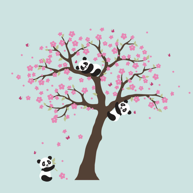 Panda And Cherry Blossom Tree Wall Decal, Scheme A Asian Wall Decals Part 82