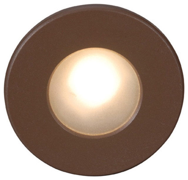 LED Circular Scoop Step Light, Bronze Contemporary Stair And Step Lights