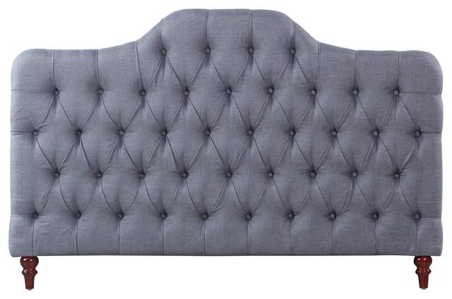 Modern Elegant Deluxe Tufted Fabric Headboard, Gray, Full.