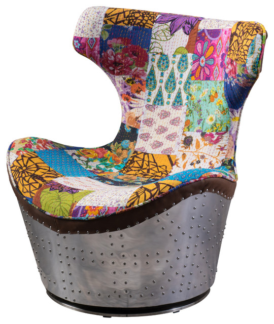 Hunter Multi Colored Whimsical Patch Work Fabric Swivel