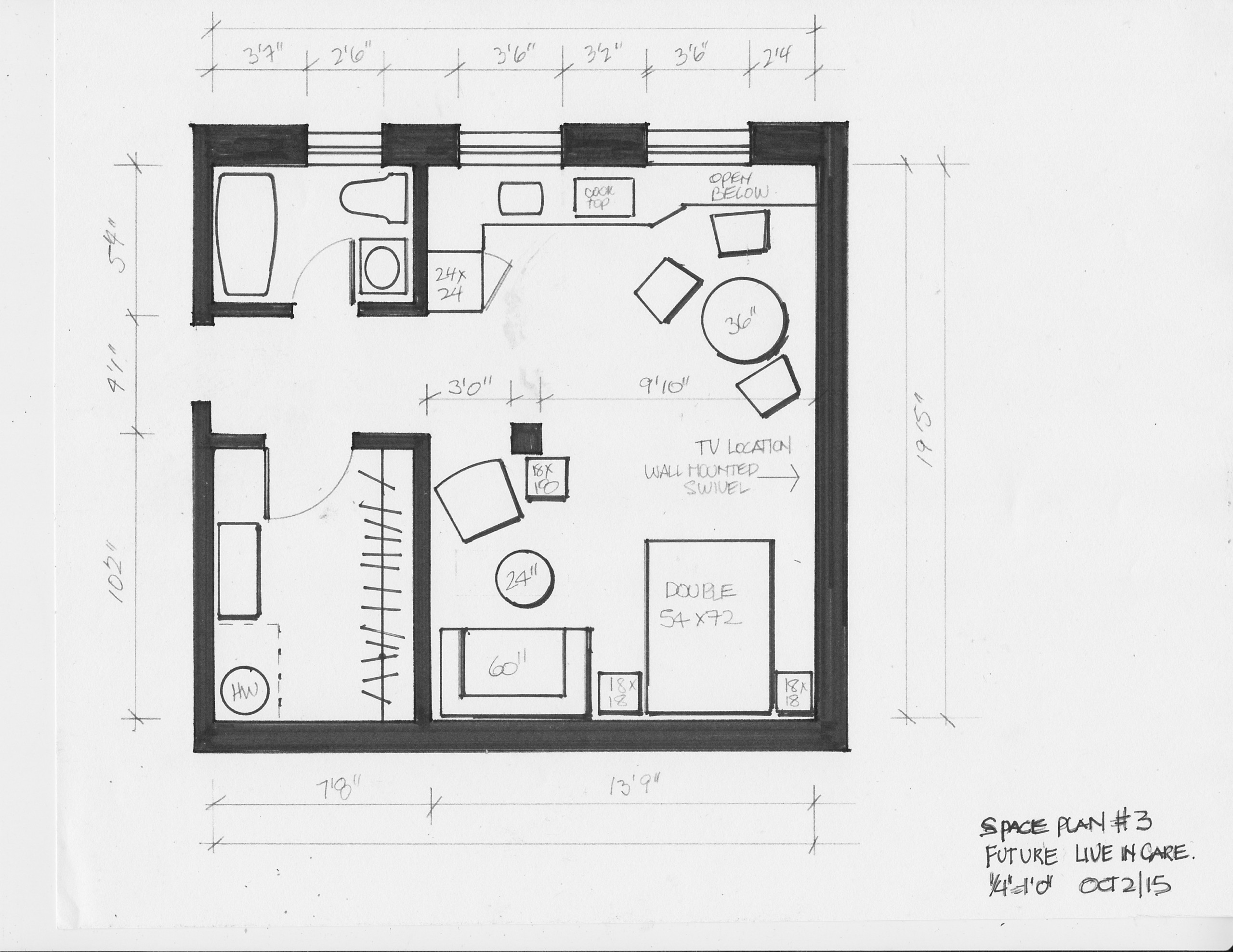 living in place space plans- live-in care suite