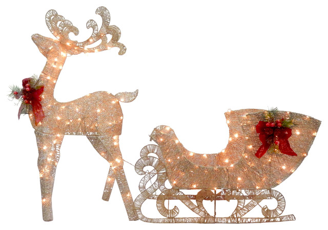 Reindeer And Santa&x27;s Sleigh With Led Lights,.