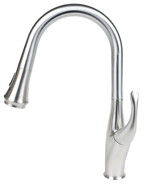 AS 3 Color LED Pull Down /& Swivel Kitchen Faucet Mixer Tap Brushed Nickel i2