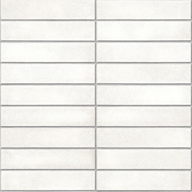 White Midcentury White Brick Peel And Stick Wallpaper, White, 4 Rolls.