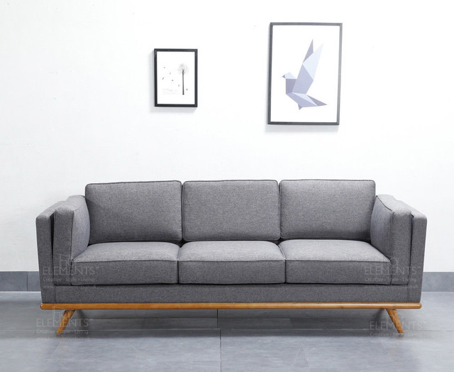 Scandinavian Style Grey 3-Seater Sofa, Solid Wood