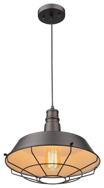 """Ironclad, Industrial-Style 1 Light Rubbed Bronze Ceiling Mini Pendant, 14"""" Shade."""