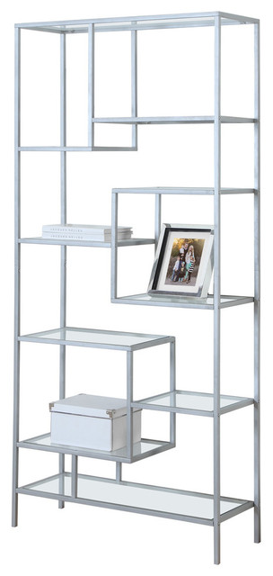 Sunland Metal Bookcase With Tempered Clear Glass, Silver
