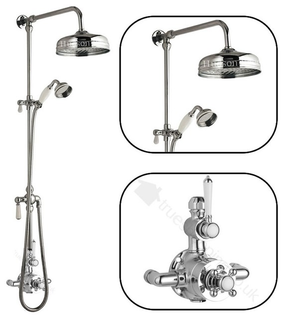Traditional Thermostatic Shower System With Victorian Riser Kit 8 ...