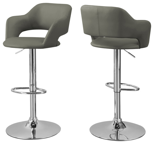 Barstool Light Gray Chrome Metal Hydraulic Lift