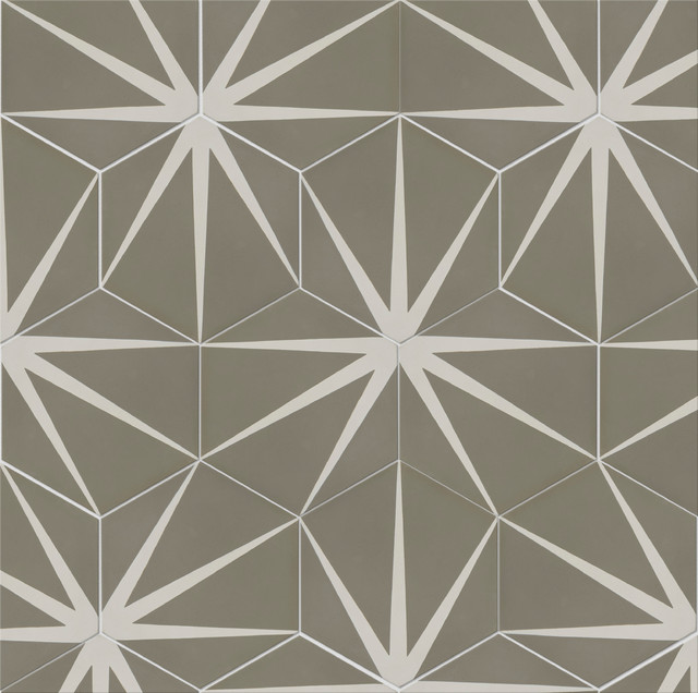Lily Pad Hexagon Pattern Tiles Set Of 12 Modern