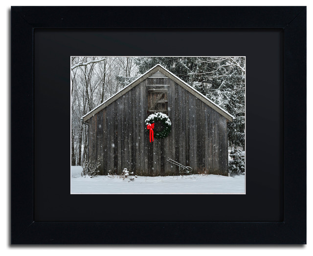 christmas barn in the snow matted framed canvas art by kurt shaffer