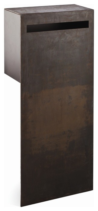Buzon Raw Steel Berta Pillar Fence Letterbox