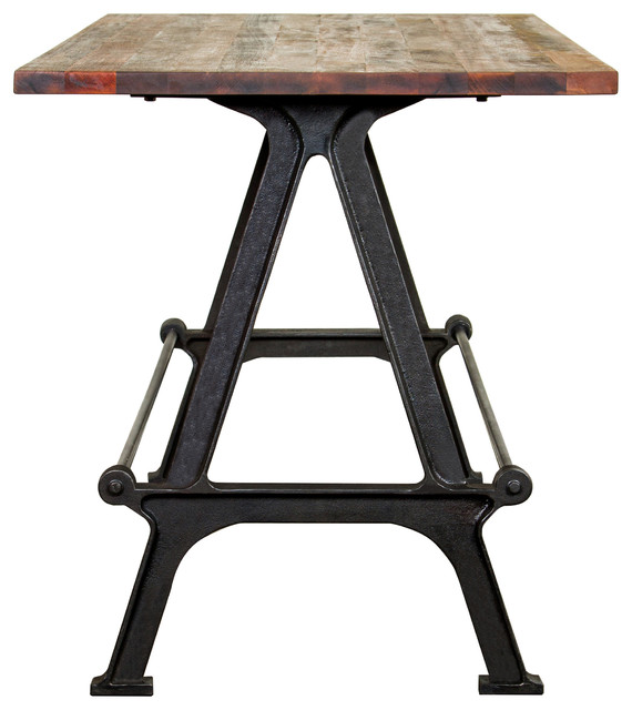 Superb Ayden Industrial Loft Reclaimed Oak Cast Iron Bar Table