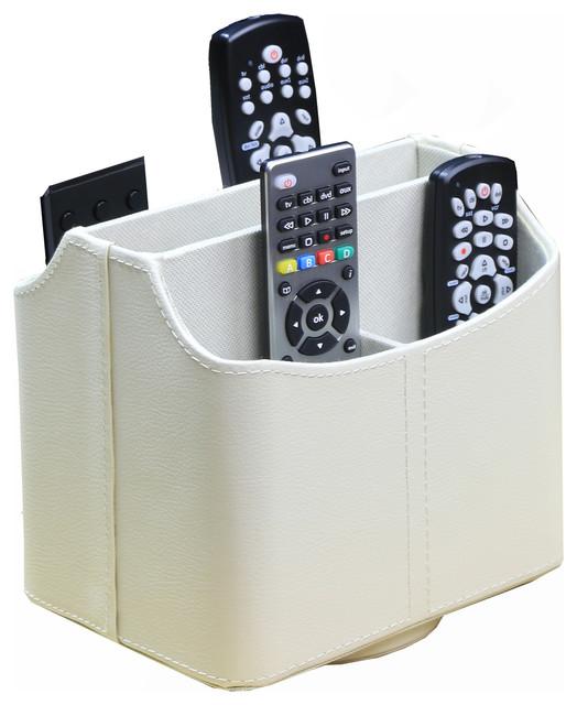 Spinning Remote Control Organizer White Modern Media