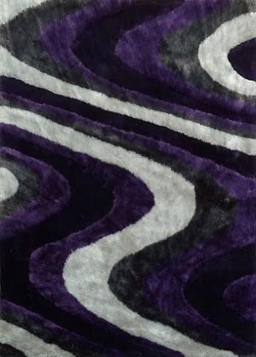 Modern Living Shag Area Rug Style 112 Gray Purple Hand Tufted Weave 2
