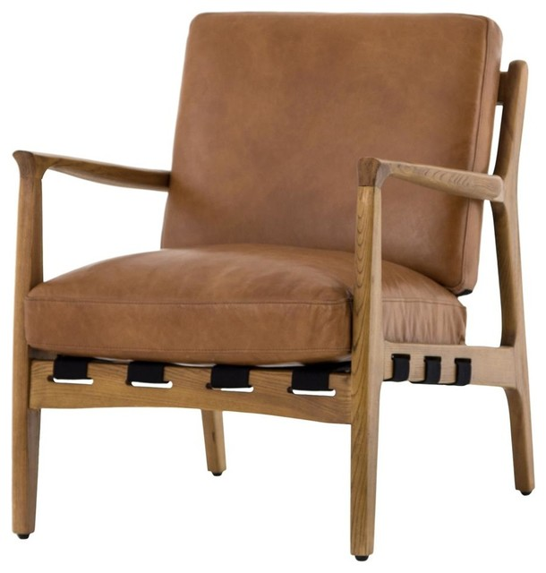 Excellent Silas Mid Century Modern Tan Leather Arm Chair Pdpeps Interior Chair Design Pdpepsorg
