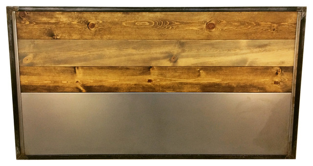 Steel And Wood Slat Headboard, King.