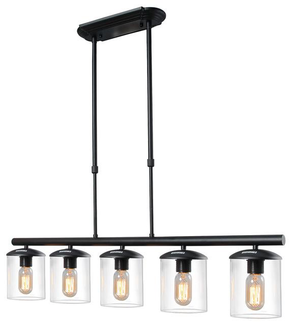 5 Light Linear Pendant Fixture In Black Finish Contemporary Kitchen Island  Lighting