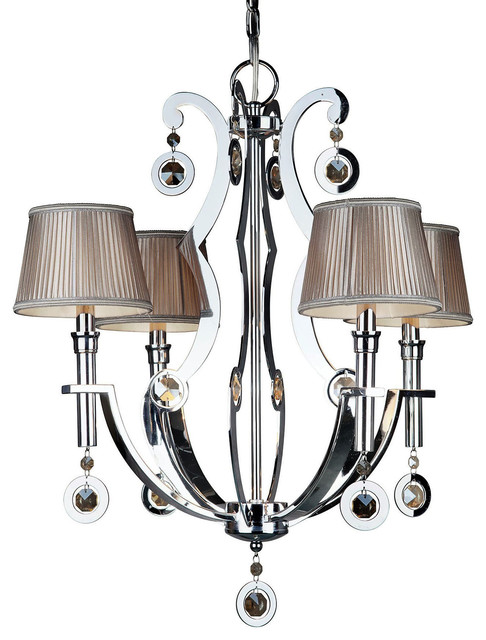 "Forte Lighting 2579-04 4 Light 24"" Wide Chandelier with Fabric Shades"