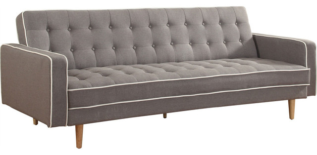 Modern Classic Gray Upholstered Button Tufted Sleeper Sofa