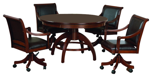 Horace Game Table And Chairs, 5 Piece Set Traditional Game Room