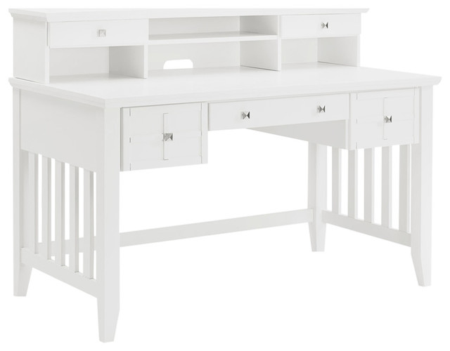 Adler Computer Desk With Hutch, White Finish.