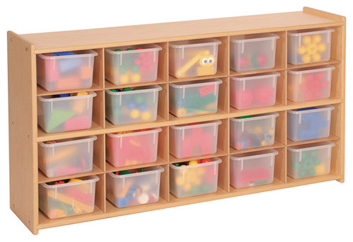 Steffywood Kids Playroom Toy Bin Organizer 20 Tray Cubby Storage Unit  Contemporary Toy Organizers