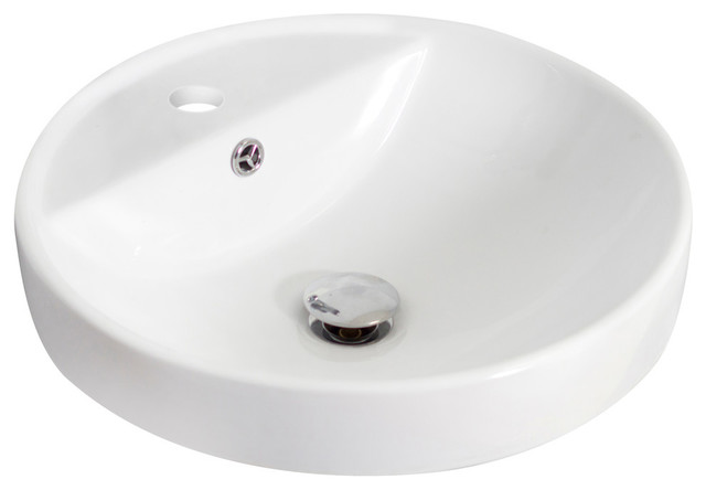 Round Vessel Set, White Color With Single Hole Cupc Faucet.