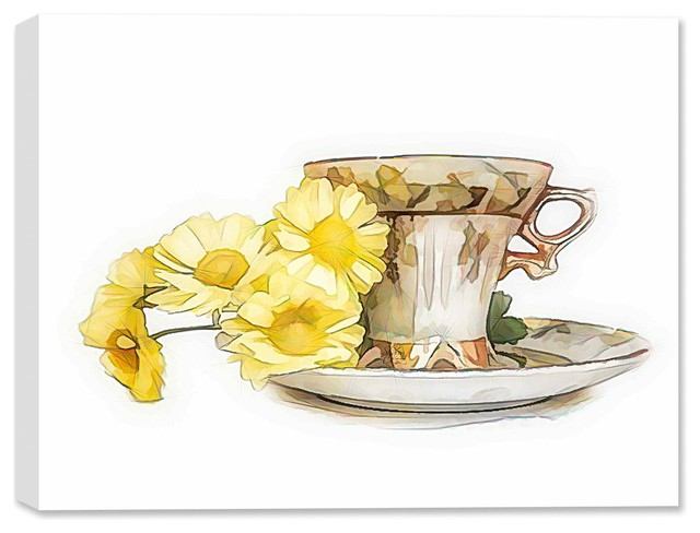 Cup And Flower On Fine Art Canvas