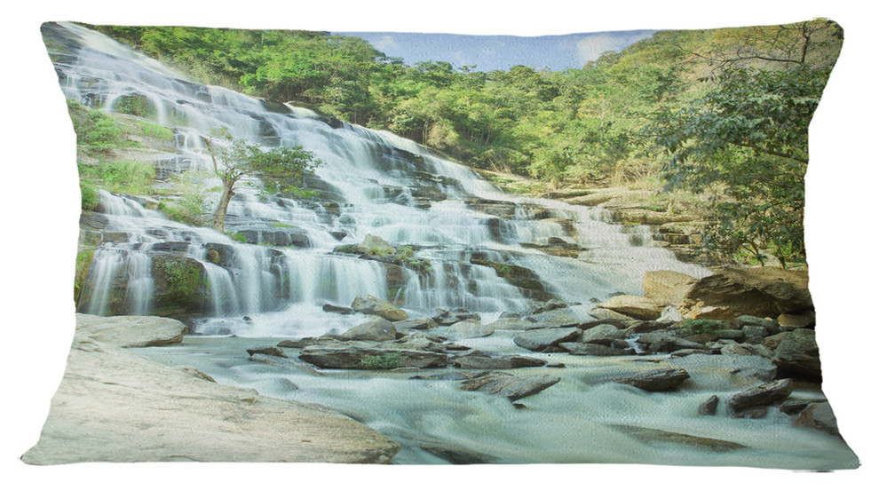 Maeyar Waterfall Landscape Photography Throw Pillow Rustic Decorative Pillows By Design Art Usa
