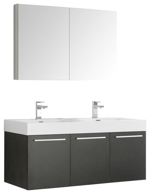 "Fresca Vista 48"" Black Double Sink Modern Bathroom Vanity With Medicine."