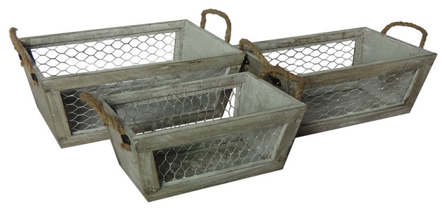 Decorative Wooden Boxes Australia : Cheungs chicken wire wooden crates set of reviews