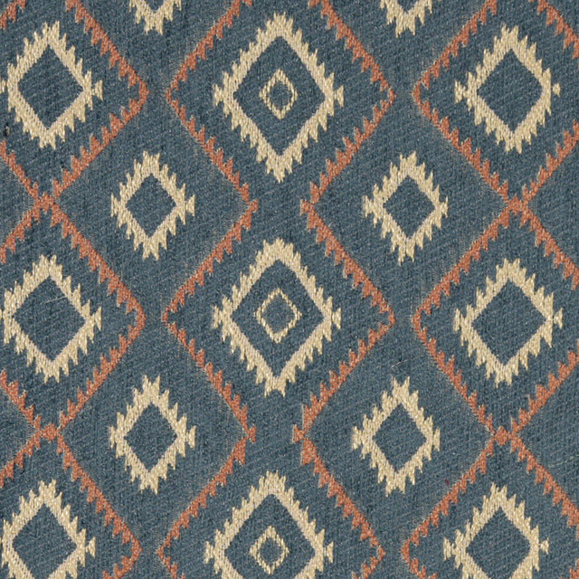 Blue Salmon And Beige Diamond Southwest Style Upholstery Fabric By