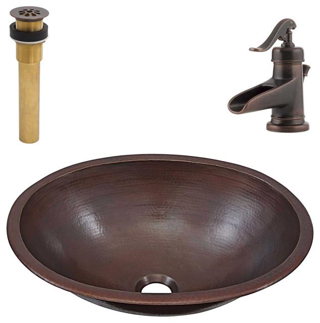 Schrodinger Undermount/Drop-In Copper Sink Kit, Pfister Bronze Faucet & Drain