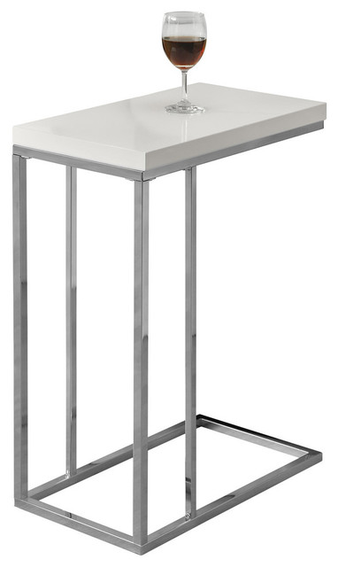 Accent Table With Chrome Metal Base, Glossy White Contemporary Side Tables  And