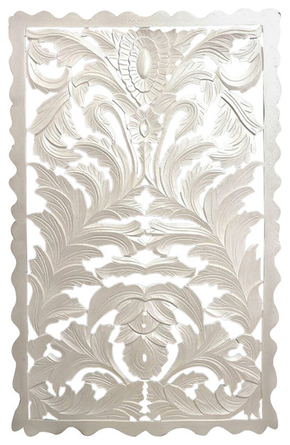 White Wood Carved Wood Panel