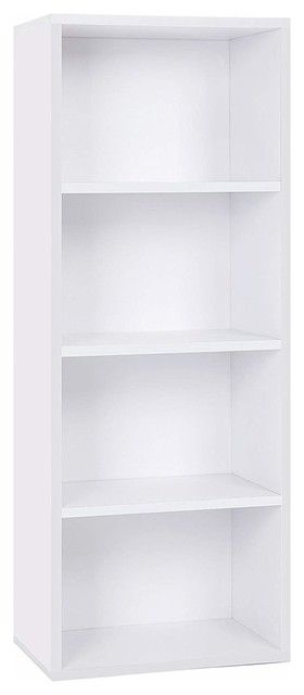 Contemporary Bookcase, Solid Wood With 4-Compartment, Perfect for Storage, White