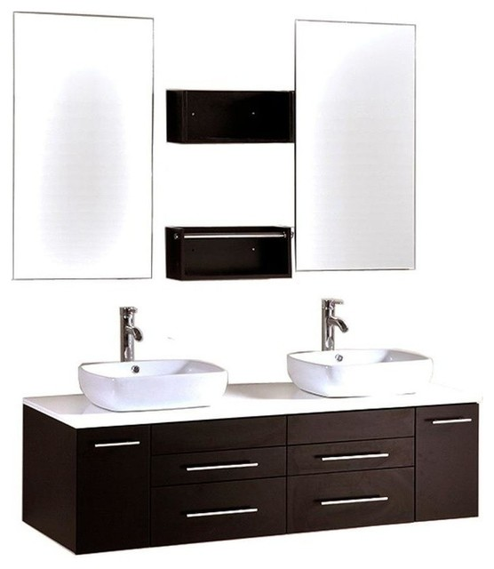 "60"" Double Vanity, Espresso With White Stone Vanity Top."