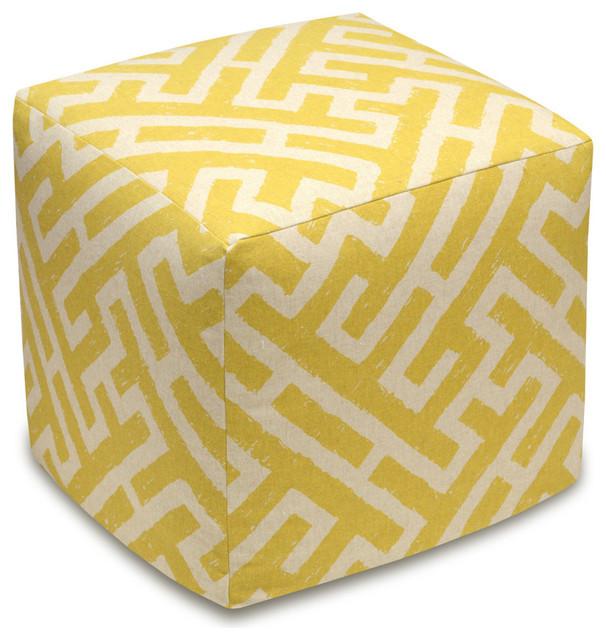 Lattice Mustard, Linen Upholstered Ottoman.