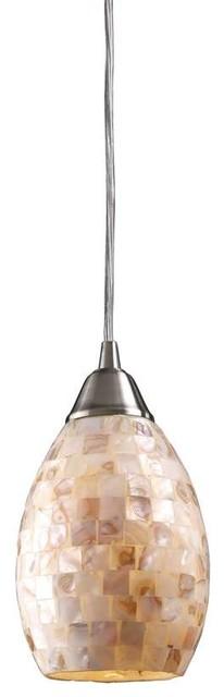 Elk Lighting 10141/1 Capri Transitional Mini Pendant Light In Satin Nickel.