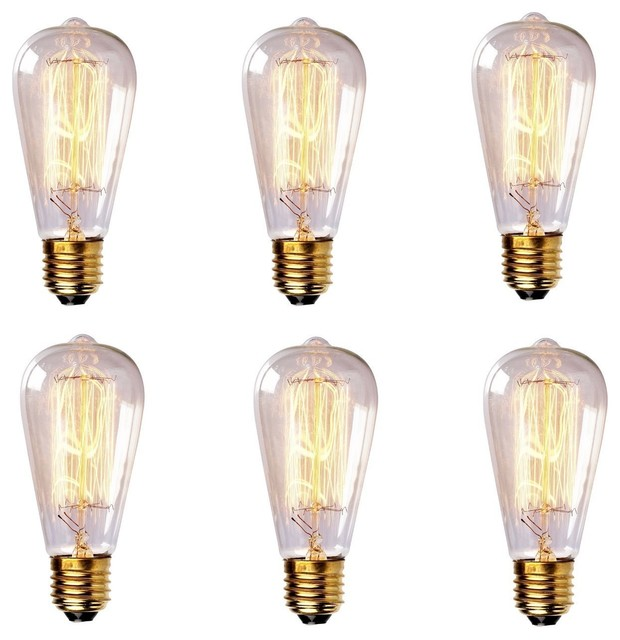 60 Watt Antique-Style Edison Light Bulb, Set of 6