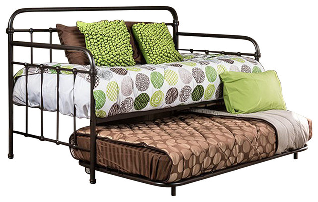 Transitional Style Metal Daybed, Dark Bronze.