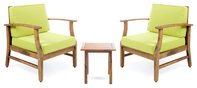 Pearl Outdoor 3-Piece Acacia Wood Chat Set With Water Resistant Cushions, Green.