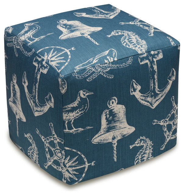 Nautical Linen Upholstered Ottoman Beach Style