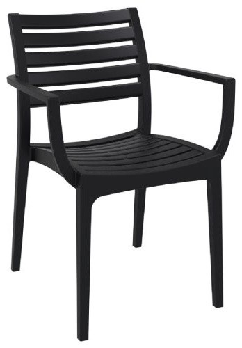 Artemis Outdoor Dining Arm Chair, Black, Black, Set Of 4 Contemporary  Outdoor