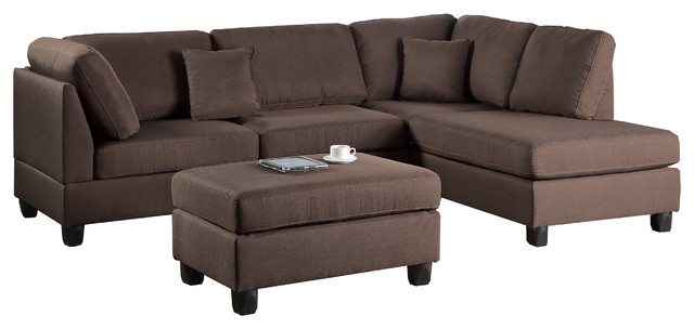 Pistoia 3 Pieces Sectional Sofa With Ottoman Upholstered In Fabric.