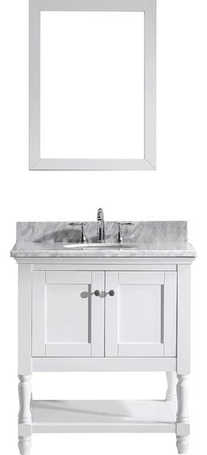 Julianna 32 Single Bathroom Vanity Set, White, Marble Top, Round Basin.