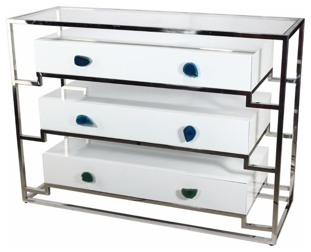 Functionally Stylized Stainless Steel Cabinet With 3-Drawer.