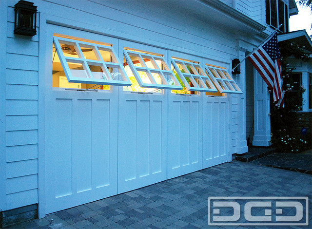 real carriage doors with awning style windows for a garage